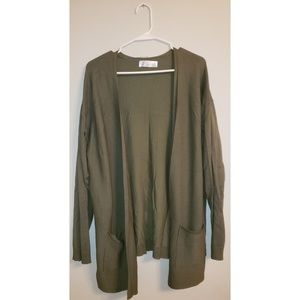 Time and True Olice Green Cardigan